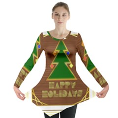 Art Deco Holiday Card Long Sleeve Tunic