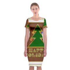 Art Deco Holiday Card Classic Short Sleeve Midi Dress