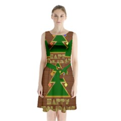 Art Deco Holiday Card Sleeveless Chiffon Waist Tie Dress