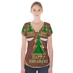 Art Deco Holiday Card Short Sleeve Front Detail Top