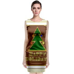 Art Deco Holiday Card Sleeveless Velvet Midi Dress