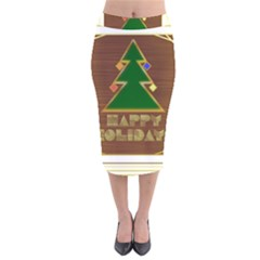 Art Deco Holiday Card Velvet Midi Pencil Skirt