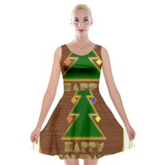 Art Deco Holiday Card Velvet Skater Dress