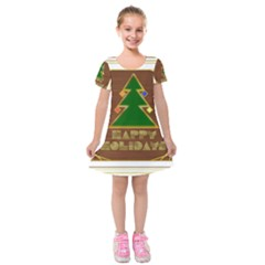 Art Deco Holiday Card Kids  Short Sleeve Velvet Dress