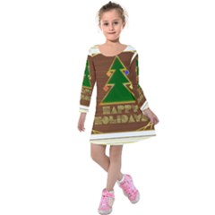 Art Deco Holiday Card Kids  Long Sleeve Velvet Dress