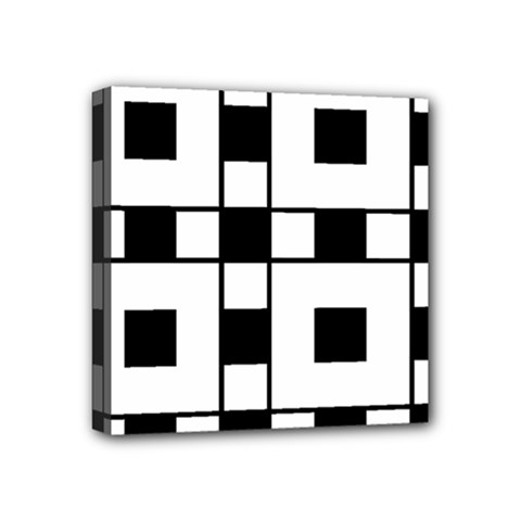 Black And White Pattern Mini Canvas 4  X 4