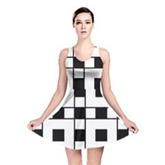 Black And White Pattern Reversible Skater Dress