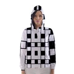 Black And White Pattern Hooded Wind Breaker (women)