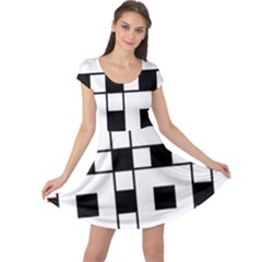 Black And White Pattern Cap Sleeve Dresses
