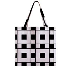 Black And White Pattern Zipper Grocery Tote Bag