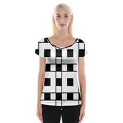Black And White Pattern Women s Cap Sleeve Top