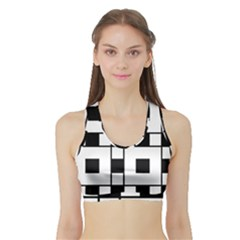 Black And White Pattern Sports Bra With Border