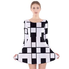 Black And White Pattern Long Sleeve Velvet Skater Dress