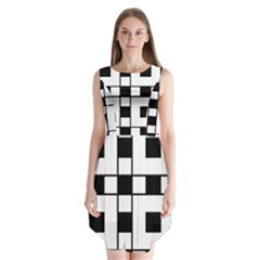 Black And White Pattern Sleeveless Chiffon Dress