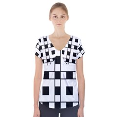Black And White Pattern Short Sleeve Front Detail Top