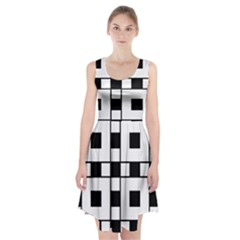 Black And White Pattern Racerback Midi Dress