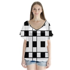 Black And White Pattern Flutter Sleeve Top