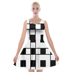 Black And White Pattern Velvet Skater Dress