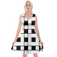 Black And White Pattern Reversible Velvet Sleeveless Dress