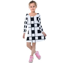 Black And White Pattern Kids  Long Sleeve Velvet Dress
