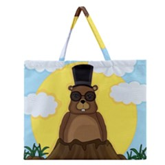 Happy Groundhog day Zipper Large Tote Bag