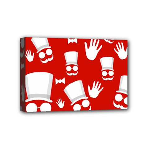 Gentlemen - red and white pattern Mini Canvas 6  x 4