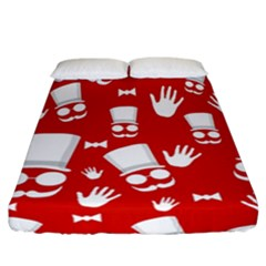 Gentlemen   Red And White Pattern Fitted Sheet (california King Size)