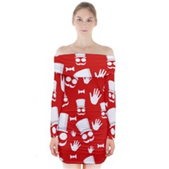 Gentlemen   Red And White Pattern Long Sleeve Off Shoulder Dress
