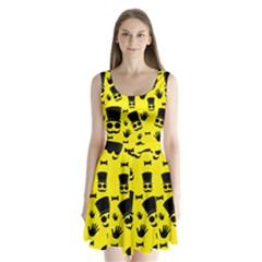 Gentlemen   Yellow Pattern Split Back Mini Dress