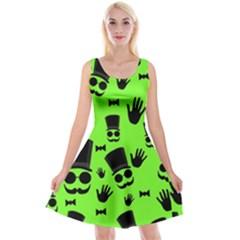 Gentleman   Green Pattern Reversible Velvet Sleeveless Dress