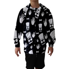 Gentleman - black and white pattern Hooded Wind Breaker (Kids)