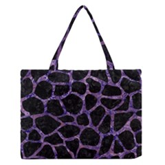 Skin1 Black Marble & Purple Marble (r) Medium Zipper Tote Bag