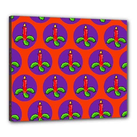 Christmas Candles Seamless Pattern Canvas 24  X 20