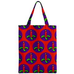 Christmas Candles Seamless Pattern Zipper Classic Tote Bag