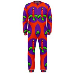 Christmas Candles Seamless Pattern Onepiece Jumpsuit (men)