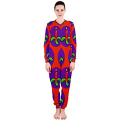 Christmas Candles Seamless Pattern Onepiece Jumpsuit (ladies)