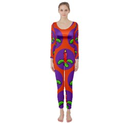 Christmas Candles Seamless Pattern Long Sleeve Catsuit
