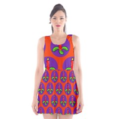 Christmas Candles Seamless Pattern Scoop Neck Skater Dress
