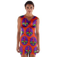 Christmas Candles Seamless Pattern Wrap Front Bodycon Dress