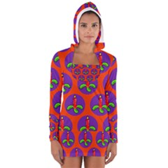 Christmas Candles Seamless Pattern Women s Long Sleeve Hooded T Shirt