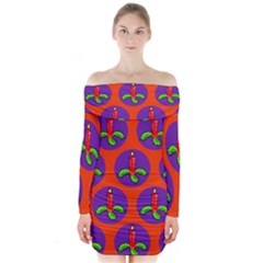 Christmas Candles Seamless Pattern Long Sleeve Off Shoulder Dress