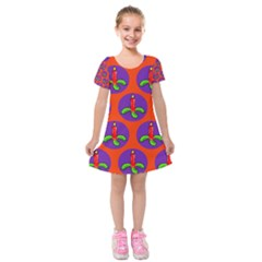 Christmas Candles Seamless Pattern Kids  Short Sleeve Velvet Dress