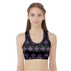 Royal1 Black Marble & Purple Marble (r) Sports Bra With Border