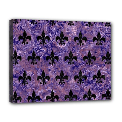 Royal1 Black Marble & Purple Marble Canvas 14  X 11  (stretched)