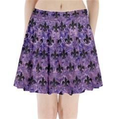 Royal1 Black Marble & Purple Marble Pleated Mini Skirt