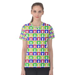 Colorful Curtains Seamless Pattern Women s Cotton Tee