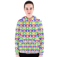 Colorful Curtains Seamless Pattern Women s Zipper Hoodie