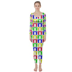 Colorful Curtains Seamless Pattern Long Sleeve Catsuit