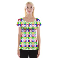 Colorful Curtains Seamless Pattern Women s Cap Sleeve Top