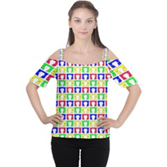 Colorful Curtains Seamless Pattern Women s Cutout Shoulder Tee